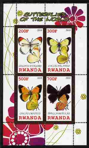 Rwanda 2010 Butterflies of the World #3 perf sheetlet containing 4 values unmounted mint