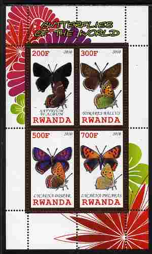 Rwanda 2010 Butterflies of the World #4 perf sheetlet containing 4 values unmounted mint