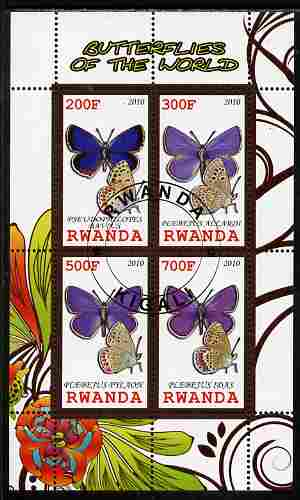 Rwanda 2010 Butterflies of the World #5 perf sheetlet containing 4 values fine cto used