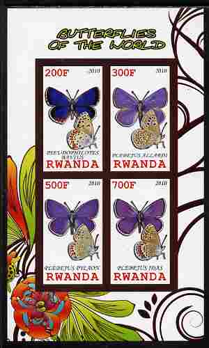 Rwanda 2010 Butterflies of the World #5 imperf sheetlet containing 4 values unmounted mint