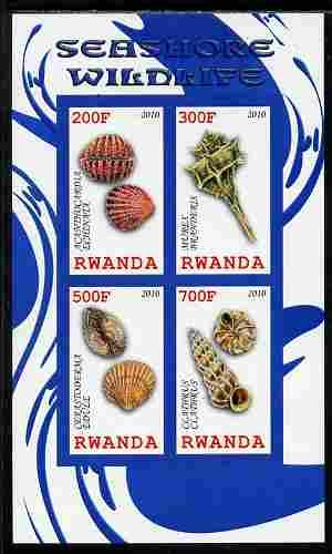Rwanda 2010 Seashore Wildlife (Shells) imperf sheetlet containing 4 values unmounted mint