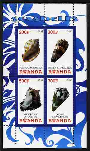 Rwanda 2010 Sea Shells #1 perf sheetlet containing 4 values unmounted mint