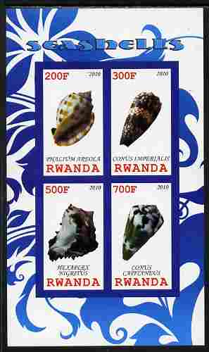 Rwanda 2010 Sea Shells #1 imperf sheetlet containing 4 values unmounted mint