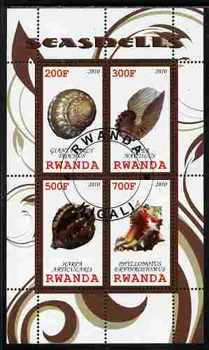 Rwanda 2010 Sea Shells #2 perf sheetlet containing 4 values fine cto used