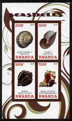 Rwanda 2010 Sea Shells #2 imperf sheetlet containing 4 values unmounted mint