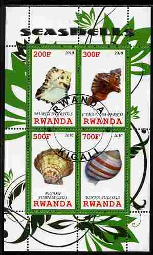 Rwanda 2010 Sea Shells #3 perf sheetlet containing 4 values fine cto used
