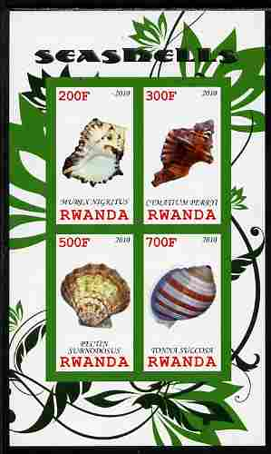 Rwanda 2010 Sea Shells #3 imperf sheetlet containing 4 values unmounted mint