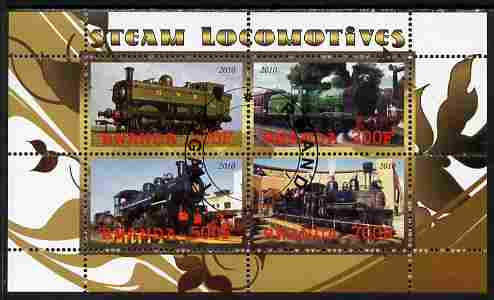 Rwanda 2010 Steam Locomotives #1 perf sheetlet containing 4 values fine cto used
