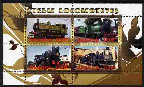 Rwanda 2010 Steam Locomotives #1 perf sheetlet containing 4 values unmounted mint