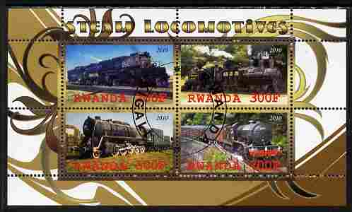 Rwanda 2010 Steam Locomotives #2 perf sheetlet containing 4 values fine cto used
