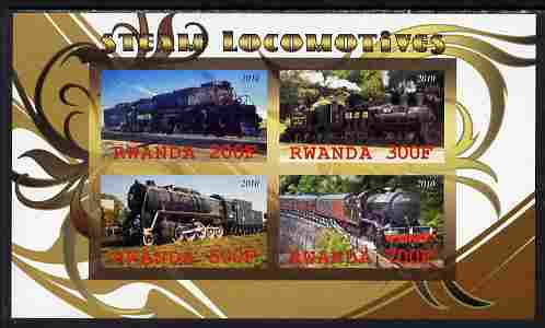 Rwanda 2010 Steam Locomotives #2 imperf sheetlet containing 4 values unmounted mint