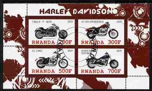 Rwanda 2010 Harley Davidson Motorcycles perf sheetlet containing 4 values fine cto used