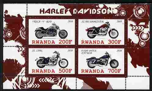 Rwanda 2010 Harley Davidson Motorcycles perf sheetlet containing 4 values unmounted mint