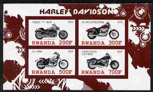 Rwanda 2010 Harley Davidson Motorcycles imperf sheetlet containing 4 values unmounted mint