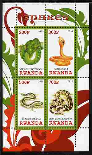 Rwanda 2010 Snakes perf sheetlet containing 4 values unmounted mint