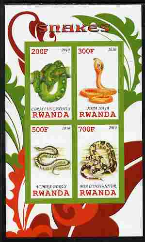 Rwanda 2010 Snakes imperf sheetlet containing 4 values unmounted mint