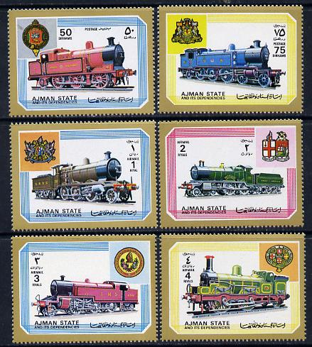 Ajman 1972 Locomotives perf set of 6 unmounted mint, Mi 1850-55
