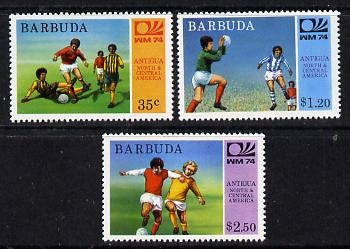 Barbuda 1974 World Cup Football perf set of 3 unmounted mint, SG 168-70