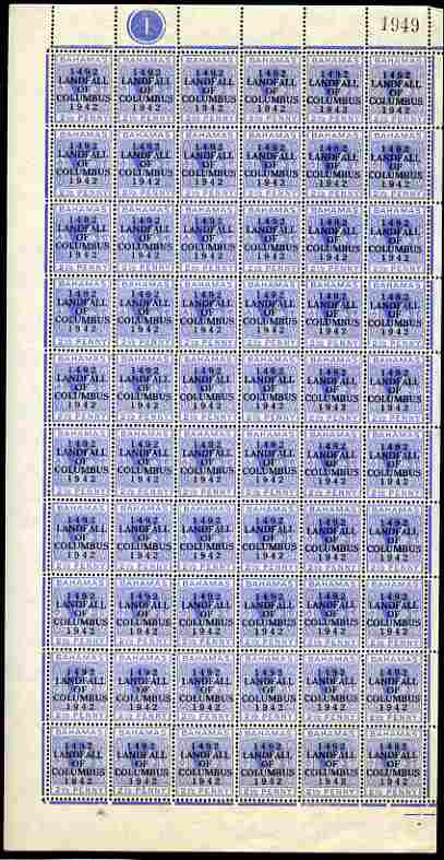 Bahamas 1942 KG6 Landfall of Columbus 2.5d ultramarine complete left pane of 60 including plate varieties R1/1 & R10/1 (Damaged corners) plus overprint varieties R1/2 (Fl...