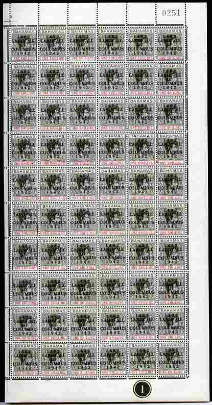 Bahamas 1942 KG6 Landfall of Columbus 1s black & red complete right pane of 60 including plate variety R10/4 (Damaged oval at 6 o