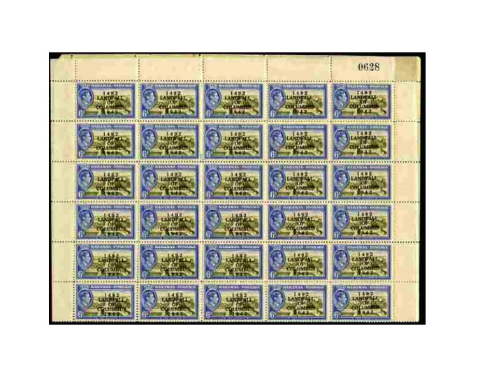 Bahamas 1942 KG6 Landfall of Columbus 6d olive-green & blue (Fort Charlotte) complete sheet of 60 including overprint varieties R6/2 (Broken 2), R7/1 (Co.lumbus) among ot..., stamps on , stamps on  kg6 , stamps on varieties, stamps on columbus, stamps on explorers, stamps on forts, stamps on