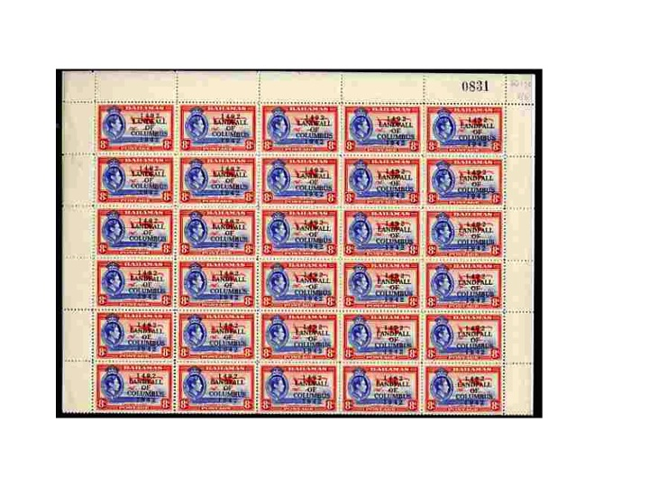 Bahamas 1942 KG6 Landfall of Columbus 8d ultramarine & scarlet (Flamingos) complete sheet of 60 including overprint varieties R6/2 (Broken 2), R7/1 (Co.lumbus) among othe...