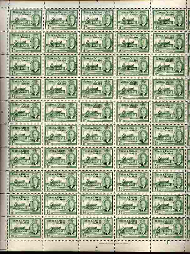 Turks & Caicos Islands 1950 KG6 Bulk Salt Loading 1/2d green in complete sheet of 60 folded but unmounted mint, SG 221