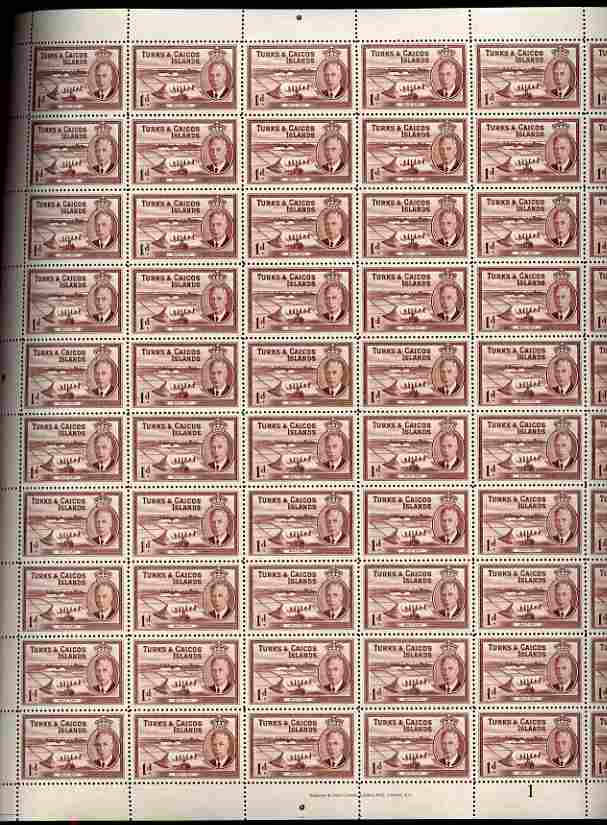 Turks & Caicos Islands 1950 KG6 Salt Cay 1d red-brown in complete sheet of 60 folded but unmounted mint, SG 222