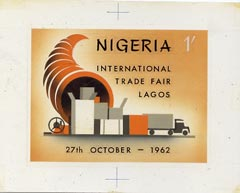 Nigeria 1962 International Trade Fair original hand-painted artwork (probably by R Hegeman) similar issued 1s value on card 5x4 plus issued stamp