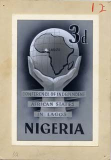 Nigeria 1962 Lagos Conference original hand-painted artwork (possibly by M Shamir) of 3d value showing hand holding Globe, on card 4x6.5