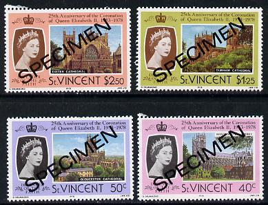 St Vincent 1978 Coronation 25th Anniversary set of 4 (Cathedrals & Abbeys) opt