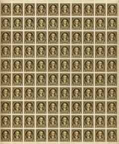 United States 1932 Washington 1/2c sepia complete sheet of 100, margins intact on two sides, SG 704