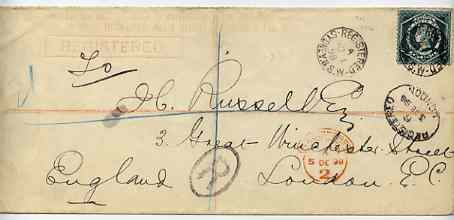 New South Wales 1898 3d reg long cover to London bearing additional 5d tied Sydney reg cds with London receiving marks, central vert filing crease otherwise fine