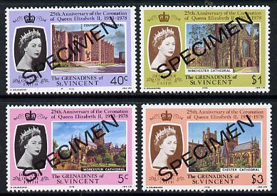 St Vincent - Grenadines 1978 Coronation 25th Anniversary set of 4 (Cathedrals) opt'd Specimen unmounted mint, as SG 130-33