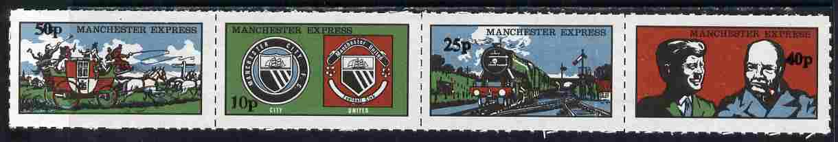Cinderella - Manchester Express 1971 se-tenant rouletted strip of 4 values in \A3p (decimal) on ungummed paper