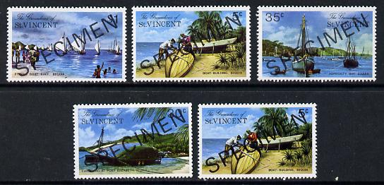 St Vincent - Grenadines 1974 Bequia Island #1 set of 5 (incl both 5c) each opt'd Specimen unmounted mint, as SG 30-34