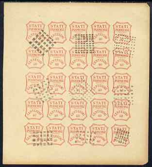Italy - Parma 1859 issue Spiro Forgery complete imperf sheet of 25 x 40c red