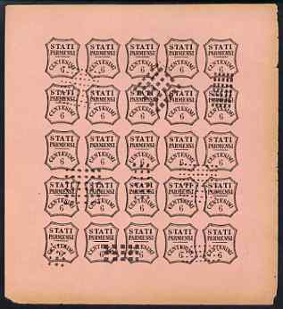 Italy - Parma 1853 Newspaper issue Spiro Forgery complete imperf sheet of 25 x 6c black on rose