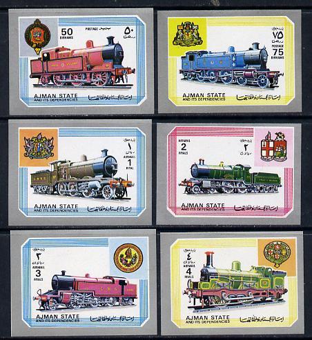 Ajman 1972 Locomotives imperf set of 6 unmounted mint, Mi 1850-55B