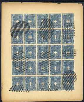 Italy - Tuscany 1860 issue Spiro Forgery complete imperf sheet of 25 x 20c blue (Arms)