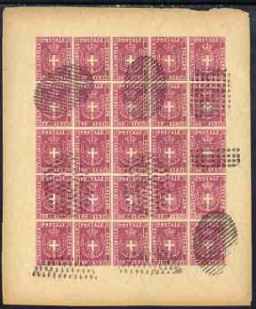 Italy - Tuscany 1860 issue Spiro Forgery complete imperf sheet of 25 x 40c rose (Arms) 'used'