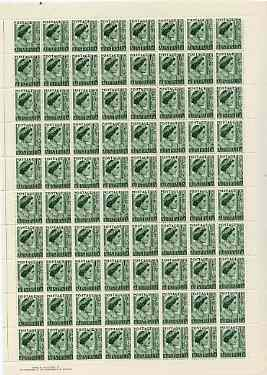 Australia 1949 Queen Elizabeth 1.5d green in complete double pane sheet of 160, SG 236 (few split perfs) unmounted mint