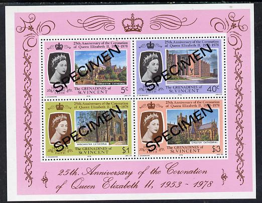 St Vincent - Grenadines 1978 Coronation 25th Anniversary m/sheet (Cathedrals) opt