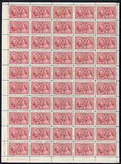 Canada 1937 KG6 Coronation 3c complete sheet of 50 with imprint & plate No.1, unmounted mint SG 356