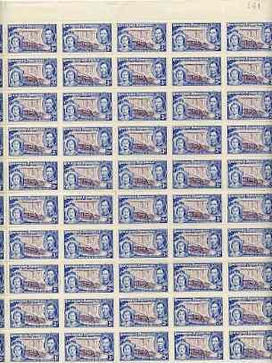 Southern Rhodesia 1937 KG6 Coronation 3d complete folded sheet of 60 superb u/m SG 38
