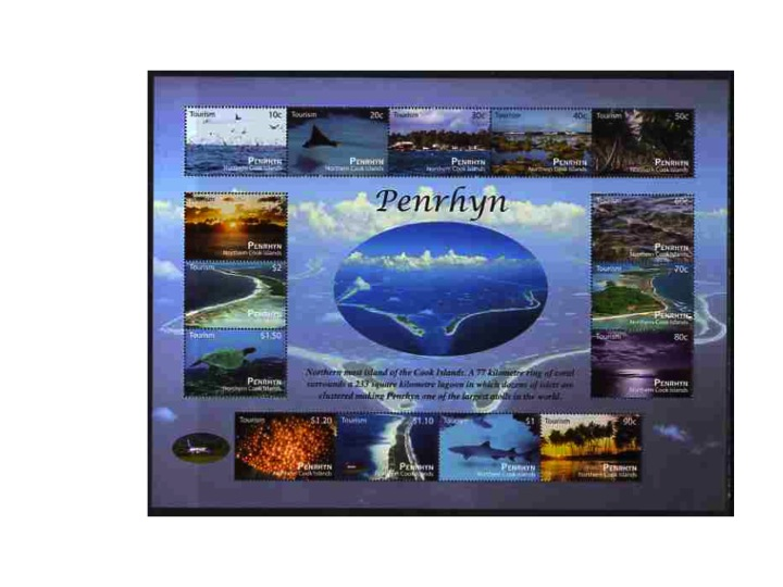 Cook Islands - Penrhyn 2011 Tourism perf sheetlet containing 15 values unmounted mint