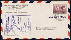 Australia 1947 First Clipper Flight cover (illustrated with Map cachet) from Sydney to New Caledonia