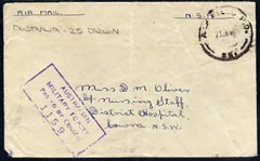 Australia 1945 Military censor cover (unstamped marked NSA) FPO 25 cancel (Darwin)
