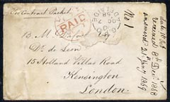 South Australia 1868 pre-stamp cover to London endorsed \D4per Contract Packet\D5