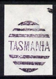 Tasmania fine strike of Tasmania between bars cancellation forgery by Francois Fournier